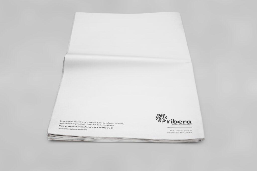 """Ribera lanza la primera campaña """"en blanco"""" para concienciar sobre la importancia de visibilizar el suicidio"""